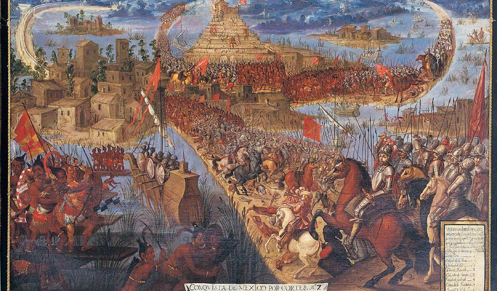 Erövringen av Tenochtitlán, okänd konstnär,